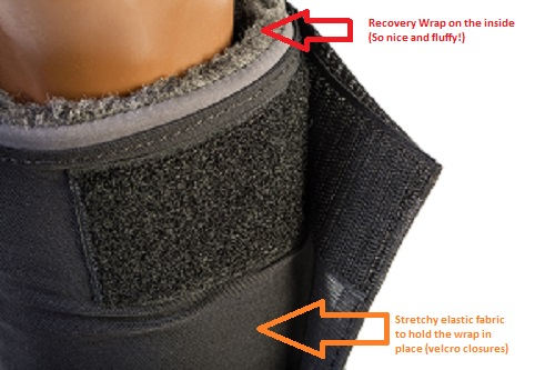 The Quick Wraps have a recovery Wrap inside and a stretchy elastic outside.