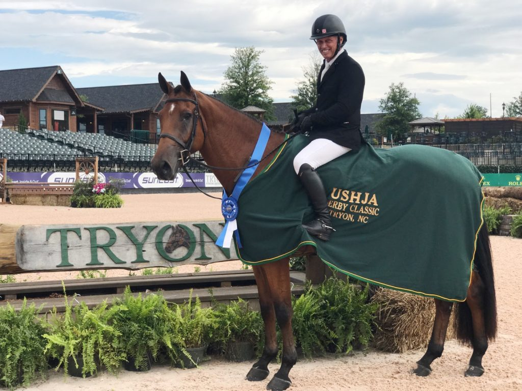 Todd Minikus and Exceptional after winning the $15 thousand USHJA National Hunter Derby (Photo courtesy of Todd Minikus)